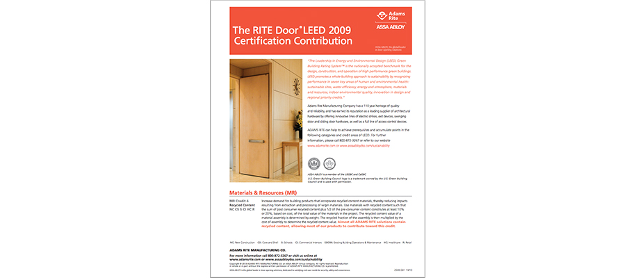 RITE Door LEED Certification Contribution