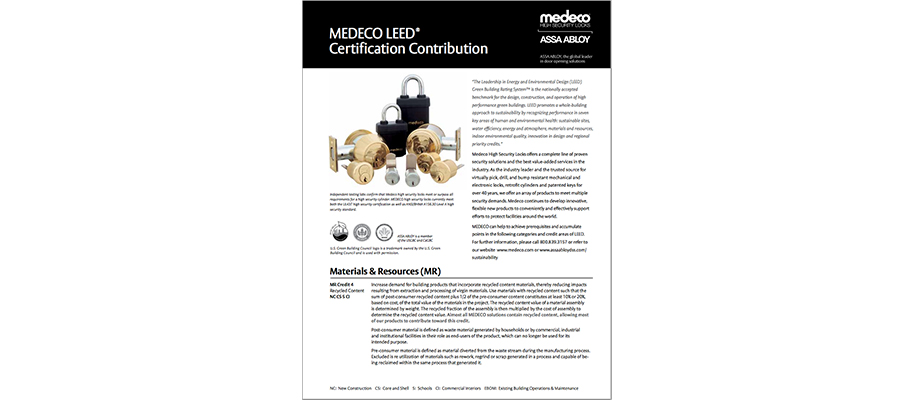 MEDECO LEED Certification Contribution