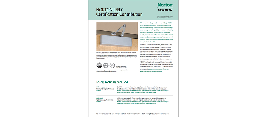 NORTON LEED Certification Contribution