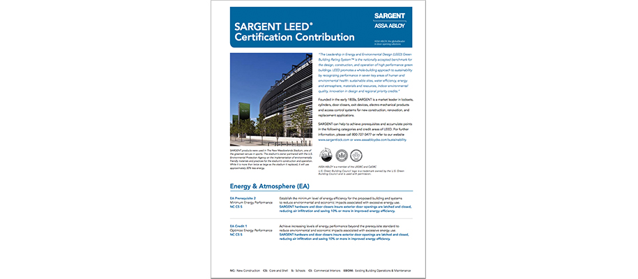SARGENT LEED Certification Contribution